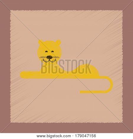 flat shading style icon of cartoon lioness