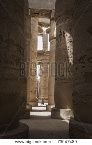Ancient Ruins Of Karnak Temple In Luxor. Egypt