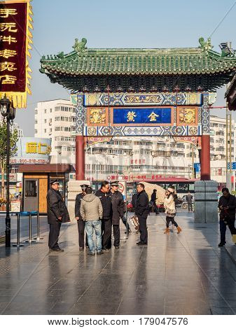 Tianjin, China - Nov 1, 2016: Main gate to the Tianjin Ancient Cultural Street. Shuige Street in front. Morning scene to what is a very popular tourist area.