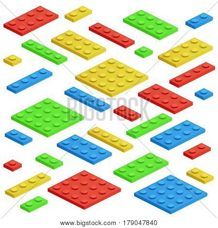 Isometric building block, toy kids bricks vector set. Toy block construction, illustration of cube toy for play