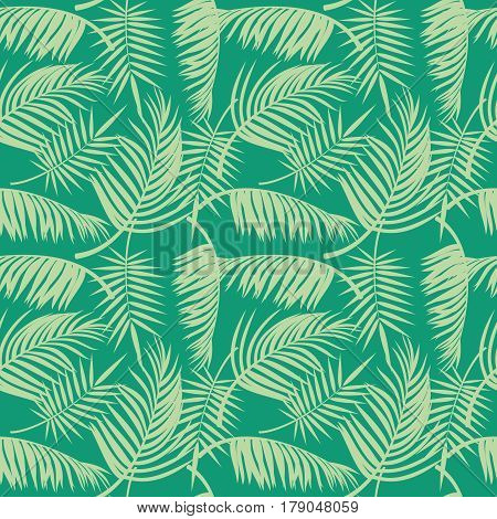 Vector beach seamless pattern with tropical palm tree leaves. Background with tree palm, illustration of exotic jungle tree