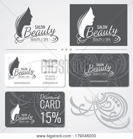 Beauty salon vector business card templates with beautiful woman face silhouette logo. Illustration of card beauty salon, silhouette of fashion girl on card