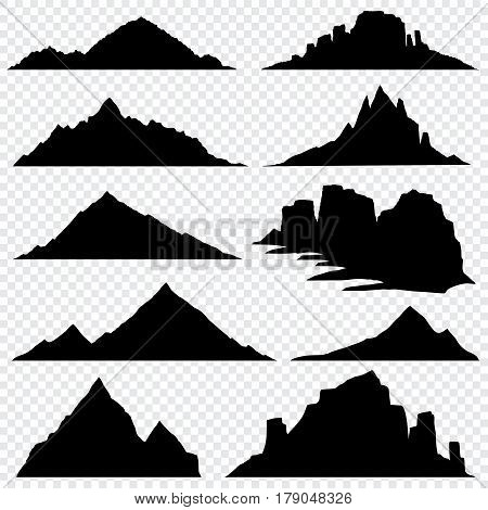 Mountain ranges black vector silhouettes set, overlook hiking landscape. Black silhouettes mountain landscape, nature mountain hill peak illustration