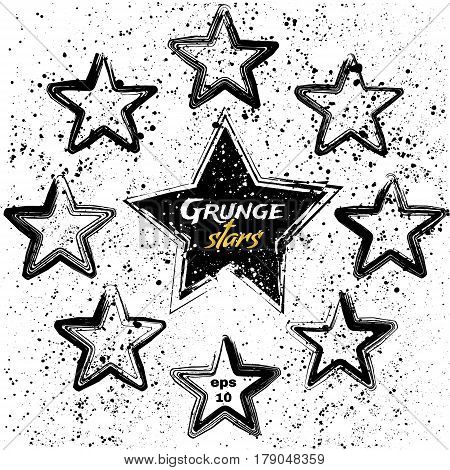Vector set of black grunge stars. Design elements. Vintage star. Retro star.
