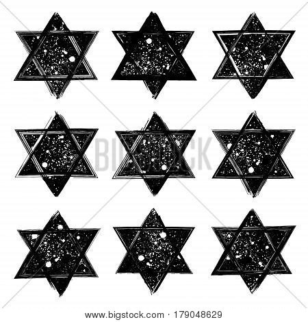Vector set of the stars of David created in grunge style. Elements for your design.