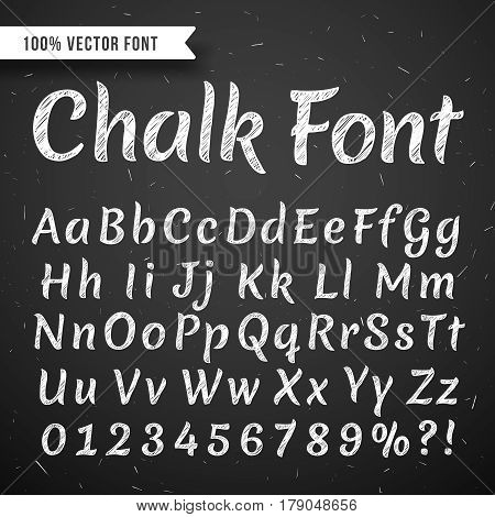 Chalk white calligraphy letters, vector writing alphabet isolated on black chalkboard. Letter and number for education, script type letters abc illustration