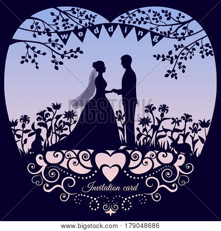 Wedding romantic invitation card with silhouette bride and groom. Backdrop with gradient rose quartz and serenity colors, trendy fashion color of the year 2016. Vector illustration.