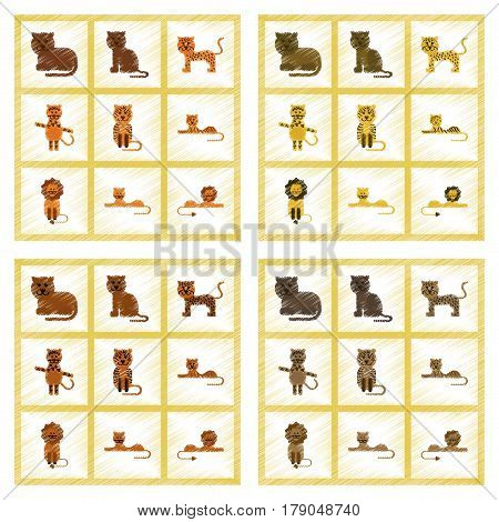 assembly flat shading style icons of cartoon tiger lion panther leopard