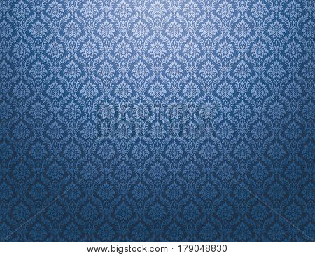 Blue damask wallpaper with royal floral patterns