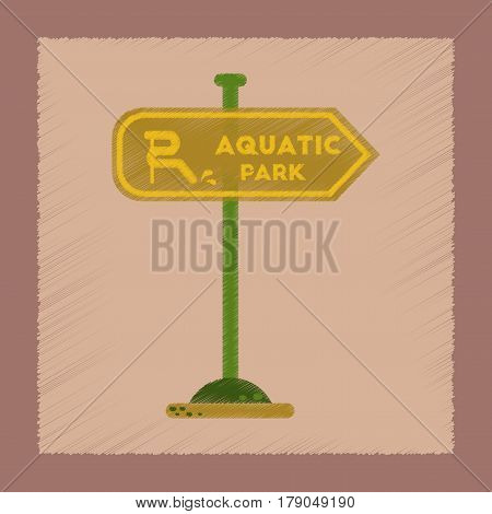 flat shading style icon of sign aquatic park