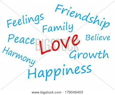 Light Blue Text Words On White Background: Feelings, Friendship, Family, Love, Peace, Believe, Harmo