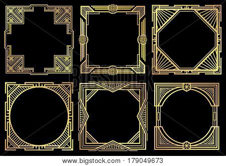 Art deco nouveau border frames in 1920s style vector set. Frame of ornament design, illustration oif golden retro frames