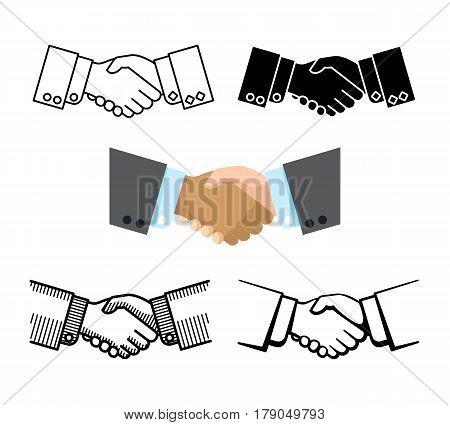 Handshake, business partnership, agreement vector icons, Set of handshake color and linear, illustration of friendship handshake