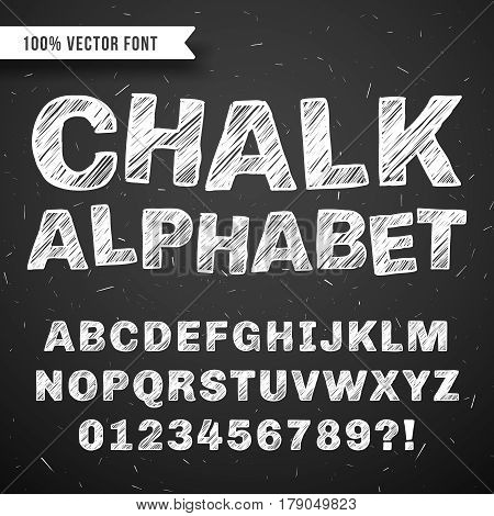White chalk hand drawing vector alphabet, school font isolated on blackboard. Abc drawing on blackboard, illustration of sketch abc