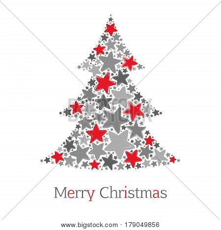 Abstract christmas tree made of red and grey stars on white background. Greeting card. Vector illustration
