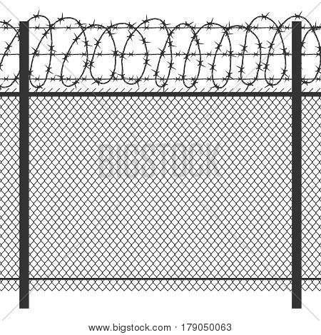 Prison privacy metal fence with barbed wire vector seamless black silhouette. Fence for prison security, illustration of wire fence for jai