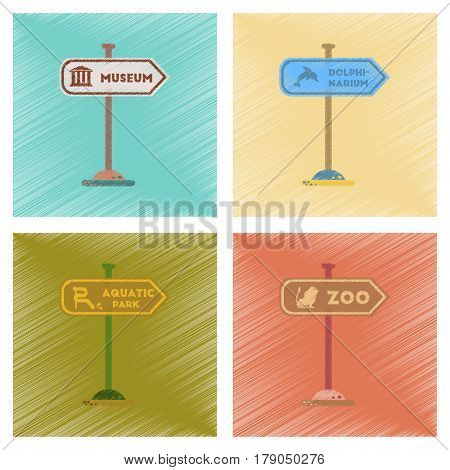 assembly flat shading style icons of sign aquatic Zoo dolphinarium park