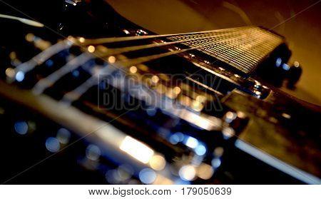 closeup photo of electric guitar on the diagonal