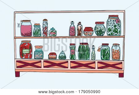 Rack with pickled jars with vegetables, fruits, herbs and berries on shelves. Autumn marinated food. Colorful Illustration.