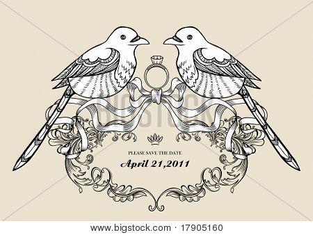lindo ganha pássaros papel de parede melhor para o cartão de convite de casamento