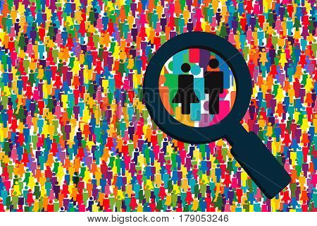 Magnifying glass looking for people.People Search icon..Large group persons searching..People search selection.Social network search..Searching job vector..Focus group..