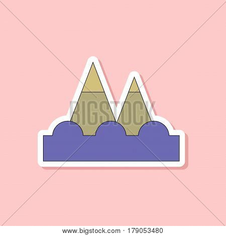 paper sticker on stylish background of tsunami mountains