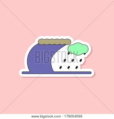 paper sticker on stylish background of tsunami storm