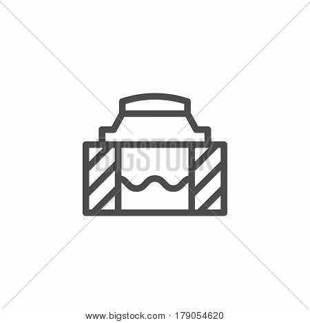 Sewer hatch line icon isolated on white. Vector illustration