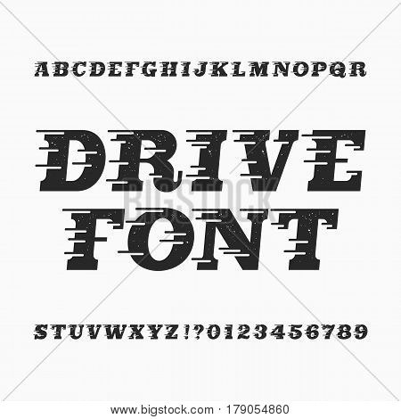 Drive alphabet vector font. Wind effect type letters and numbers. Vintage distressed vector typeface for your design.