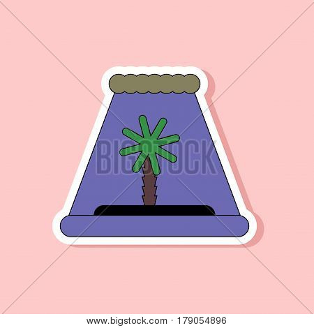 paper sticker on stylish background of tsunami Island