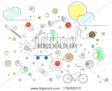 Vector Illustration of World Health Day in lineart style. Can be used as banner, poster, background.