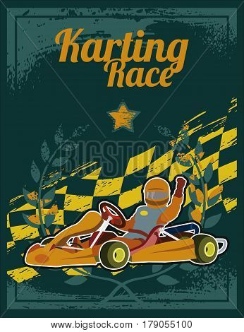 Poster with image of karting driver and text