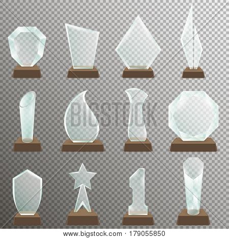 Set of Glass transparent trophy awards with wooden stand. Glass trophy awards in realistic style. Vector illustration.