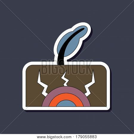 paper sticker on stylish background of natural disaster earthquake