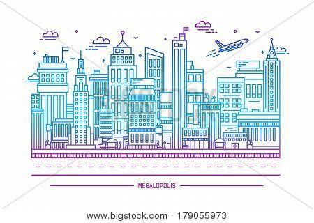 megalopolis, big city life. contour line art illustration