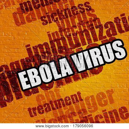 Modern health concept: Ebola Virus on the Yellow Brick Wall . Yellow Wall with Ebola Virus on the it .