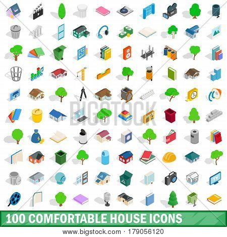 100 comfortable house icons set in isometric 3d style for any design vector illustration