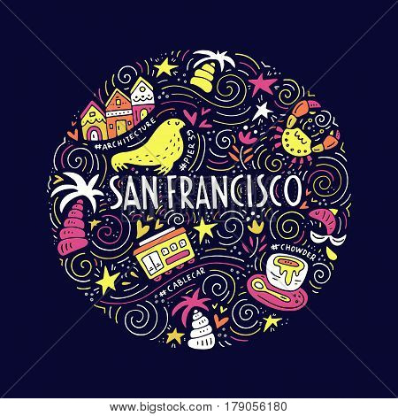 The circle with  San Fransisco symbols and lettering. Vector illustration. USA series.
