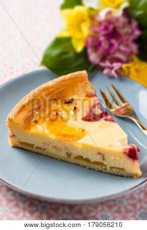 Vanilla Cream Tart Pie Slice with Peach Pineapple and Cherry