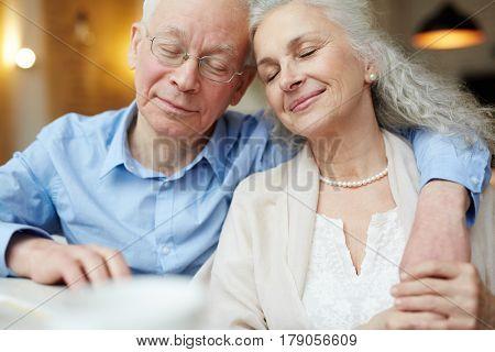 Amorous senior couple enjoying being together