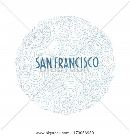 The circle with colored San Francisco symbols and San Francisco words vector illustration.