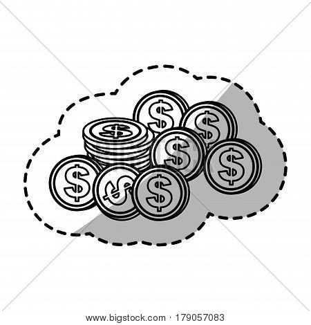 figure coins dolar currency, vector illustration design