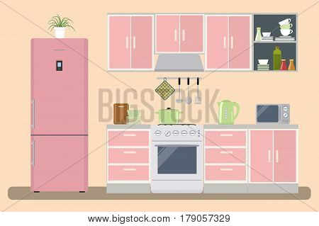 Kitchen in a pink color. There is a kitchen furniture, a refrigerator, a microwave, a kettle and other objects in the picture. Raster copy.