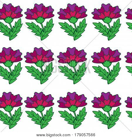 Vector seamless floral pattern with violet fancy flower. Fancy flower background for printing on fabric paper for scrapbook gift wrap.
