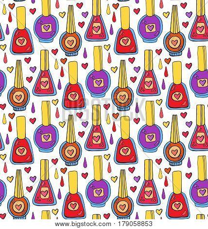 Doodle cute woman nail polish drawn seamless vector pattern