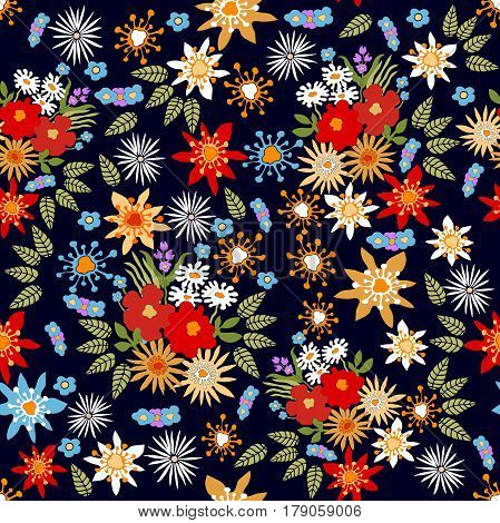 Seamless vector pattern with different colorful wildflowers.