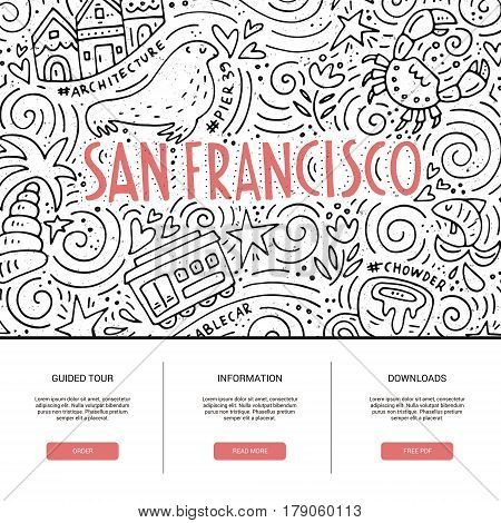 Website template with San Fransisco symbols. Clean and modern design.