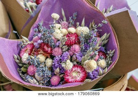 Bouquet of dried flowers on a farmer's market.