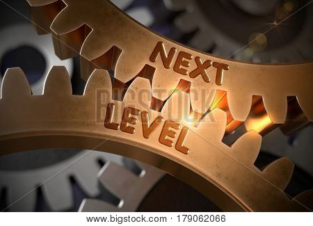 Next Level - Illustration with Glow Effect and Lens Flare. Next Level Golden Metallic Cog Gears. 3D Rendering.