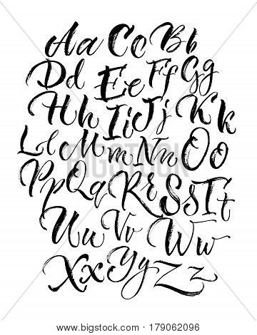 Black scrawling uppercase and lowercase alphabet letters made with brush in hand drawn style on white background flat vector illustration